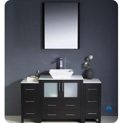 "Torino 54"" Single Modern Bathroom Vanity Set with Mirror Base Finish: Espresso"