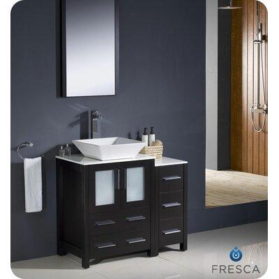 "Torino 36"" Single Modern Bathroom Vanity Set with Mirror Base Finish: Espresso"