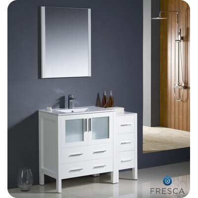 "Torino 42"" Single Modern Bathroom Vanity Set with Mirror Base Finish: White"