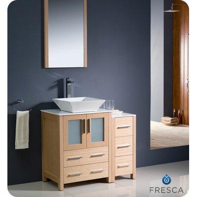 "Torino 36"" Single Modern Bathroom Vanity Set with Mirror Base Finish: Light Oak"