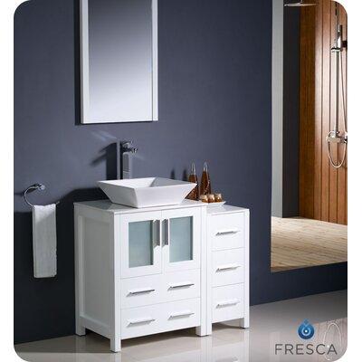 "Torino 36"" Single Modern Bathroom Vanity Set with Mirror Base Finish: White"