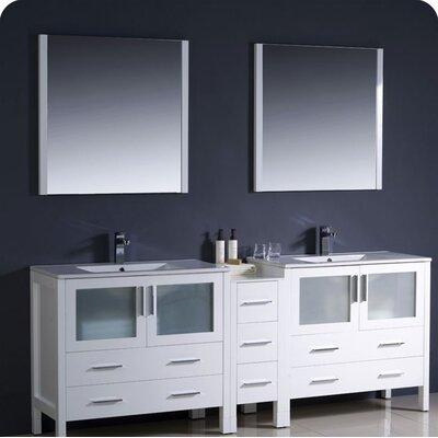 "Torino 84"" Double Modern Bathroom Vanity Set with Mirror Base Finish: White"