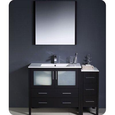 "Torino 48"" Single Modern Bathroom Vanity Set with Mirror Base Finish: Espresso"