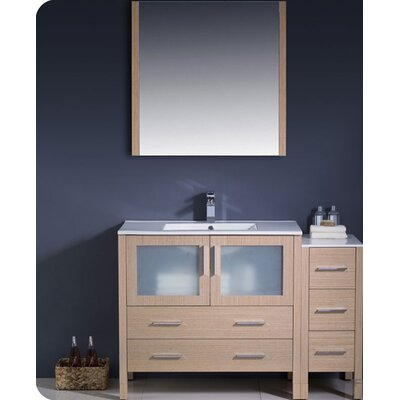 "Torino 48"" Single Modern Bathroom Vanity Set with Mirror Base Finish: Light Oak"