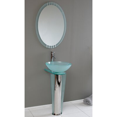 "Vetro 17"" Single Vitale Modern Bathroom Vanity Set with Mirror"