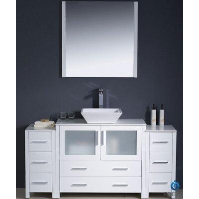 "Torino 60"" Single Modern Bathroom Vanity Set with Mirror Base Finish: White"