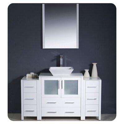 "Torino 54"" Single Modern Bathroom Vanity Set with Mirror Base Finish: White"