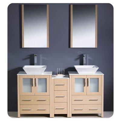 "Torino 60"" Double Modern Bathroom Vanity Set with Mirror Base Finish: Light Oak"