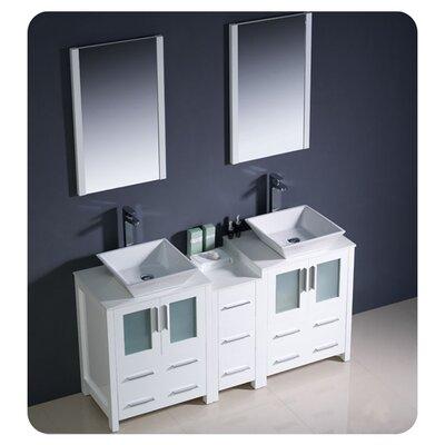 "Torino 60"" Double Modern Bathroom Vanity Set with Mirror Base Finish: White"