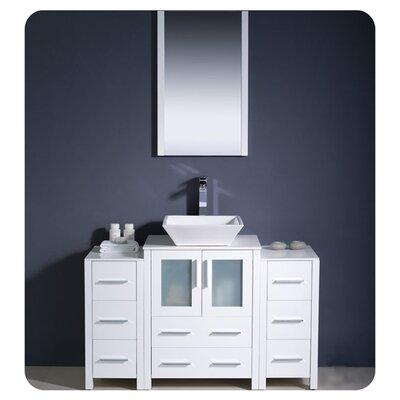"Torino 48"" Single Modern Bathroom Vanity Set with Mirror Base Finish: White"