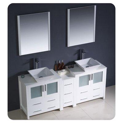 "Torino 72"" Double Bathroom Vanity with Mirror Base Finish: White"