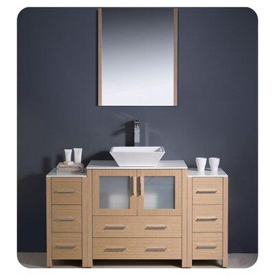 "Torino 54"" Single Modern Bathroom Vanity Set with Mirror Base Finish: Light Oak"