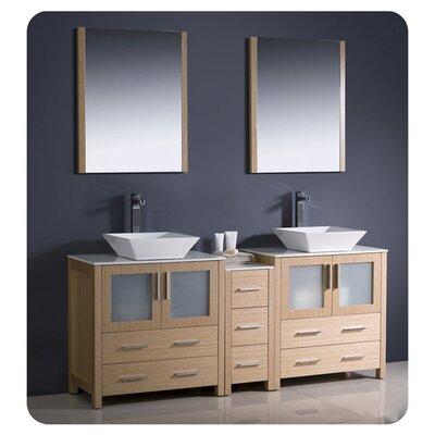 "Torino 72"" Double Bathroom Vanity with Mirror Base Finish: Light Oak"