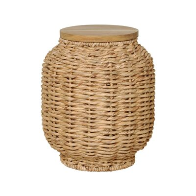 Water Hyacinth Wood Lantern Stool