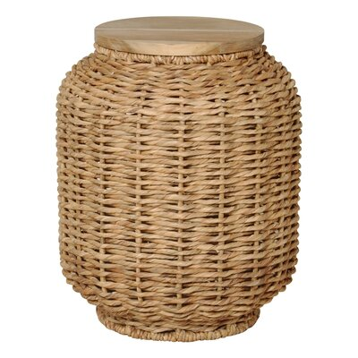 Large Water Hyacinth Wood Lantern Stool