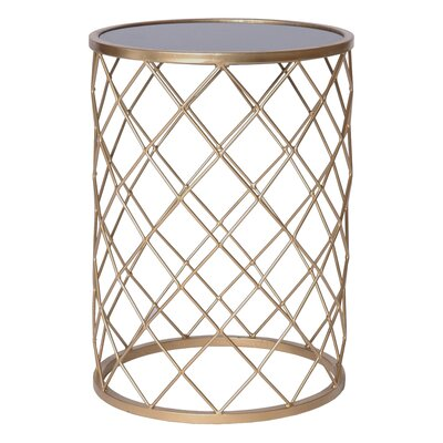 Net Metal Granite Accent Stool Finish: Gold