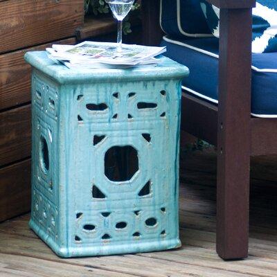 Lattice Square Frame Garden Stool Finish: Turquoise Blue