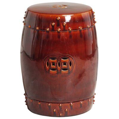 Iona Drum Garden Stool Color: Red