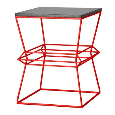 Vector Metal/Granite Accent Stool Finish: Red
