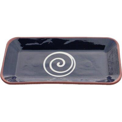 Cookware Essentials 32cm Terracotta Rectangular Plate in Blue and Cream