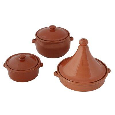 Cookware Essentials 3-Piece Terracotta Round Casserole-Set