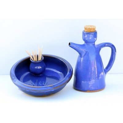 Cookware Essentials Dolores 2-Piece Olive Dish and Oil Bottle Set