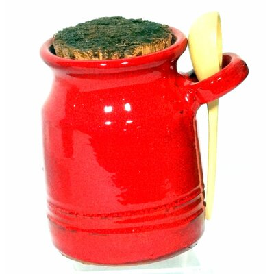Cookware Essentials Terracotta Salt Pot with Ladle in Red