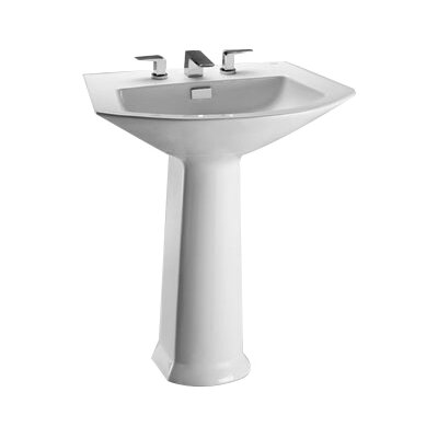 "Soiree Vitreous China 26"" Pedestal Bathroom Sink with Overflow Sink Finish: Sedona Beige, Faucet Mount: 8"" Widespread"