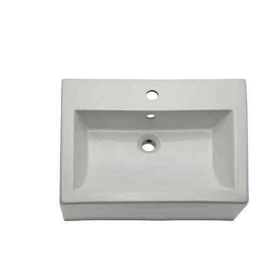 Bluebell Classically Redefined Ceramic Rectangular Vessel Bathroom Sink with Overflow