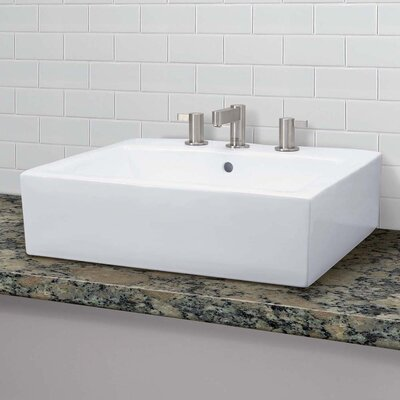 Naiyah Classically Redefined Ceramic Rectangular Vessel Bathroom Sink with Overflow