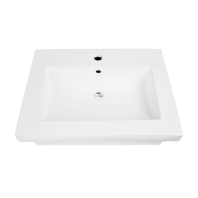 """Coral Classically Redefined Rectangular Lavatory 24"""" Wall Mount Bathroom Sink with Overflow"""