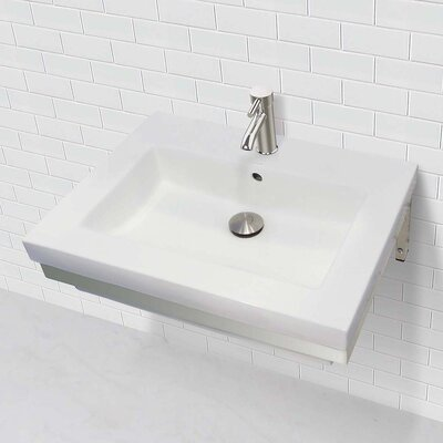 """Caden Classically Redefined Lavatory 24"""" Wall Mount Bathroom Sink with Overflow"""