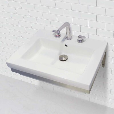 """Ciera Classically Redefined Rectangular Lavatory 24"""" Wall Mount Bathroom Sink with Overflow"""
