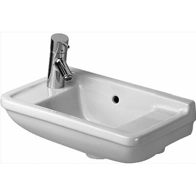 "Starck 3 Ceramic 20"" Wall Mount Bathroom Sink with Overflow Faucet Mount: Left"