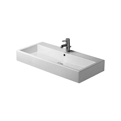 "Vero Ceramic 40"" Wall Mount Bathroom Sink with Overflow Faucet Drillings: Three Hole"
