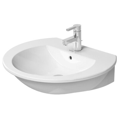 "Darling New Ceramic 26"" Wall Mount Bathroom Sink with Overflow Faucet Drillings: Single Hole"