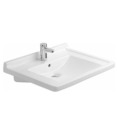 """Starck 3 Ceramic 28"""" Wall Mount Bathroom Sink with Overflow Faucet Drillings: Single Hole"""