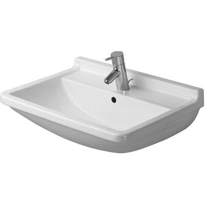 """Starck 3 Ceramic 24"""" Wall Mount Bathroom Sink with Overflow Faucet Drillings: Single Hole"""