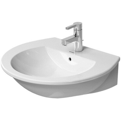 "Darling New Ceramic 24"" Wall Mount Bathroom Sink with Overflow Faucet Drillings: Single Hole"