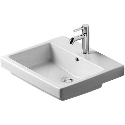 Vero Ceramic Rectangular Drop-In Bathroom Sink with Overflow Faucet Drillings: Single Hole