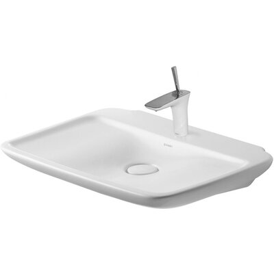 "PuraVida Ceramic 28"" Wall Mount Bathroom Sink with Overflow Faucet Drillings: Single Hole"
