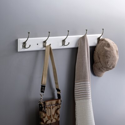 Rail Wall Mounted Coat Rack Finish: Pure White