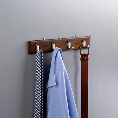 Coat and Hat Wall Mounted Coat Rack Finish: Bark / Satin Nickel