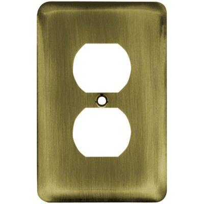 Stamped Steel Round Single Duplex Wall Plate Finish: Antique Brass