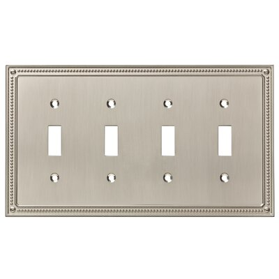 Classic Beaded Quad Switch Wall Plate Color: Satin Nickel