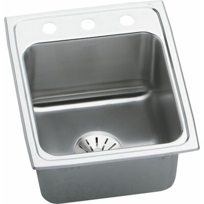 "Lustertone 17"" L x 22"" W Drop-In Kitchen Sink with Drain Assembly Faucet Drillings: OS4"