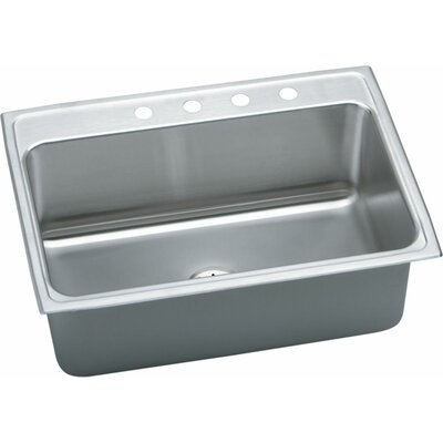 "Gourmet 31"" L x 22"" W Top Mount Kitchen Sink with Perfect Drain Faucet Drillings: 4 Hole"