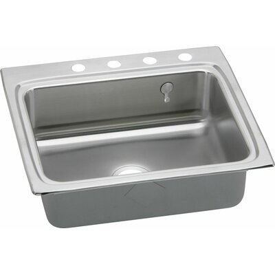 "Gourmet 25"" L x 22"" W Kitchen Sink with E-Dock Hook Faucet Drillings: 4 Hole"