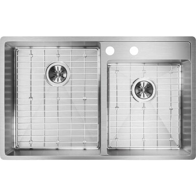 "Crosstown 33"" L x 21"" W Double Basin Undermount Kitchen Sink with Grid and Drain Assembly Faucet Drillings: 2 Holes"