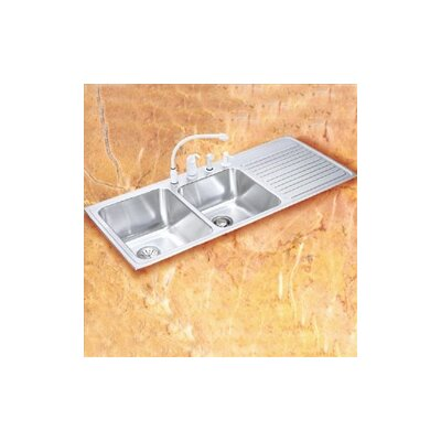 """Elkay Gourmet 48"""" x 22"""" 3-Hole Self Rimming Double Bowl Kitchen Sink"""